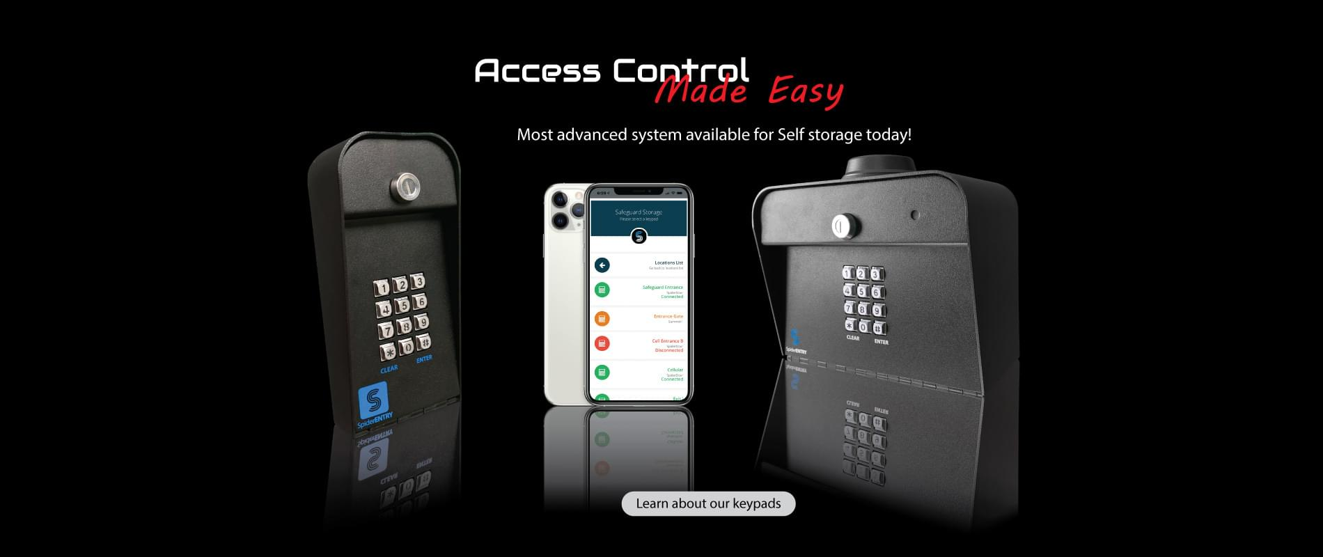 Spiderdoor cellular keypads along with a managers app